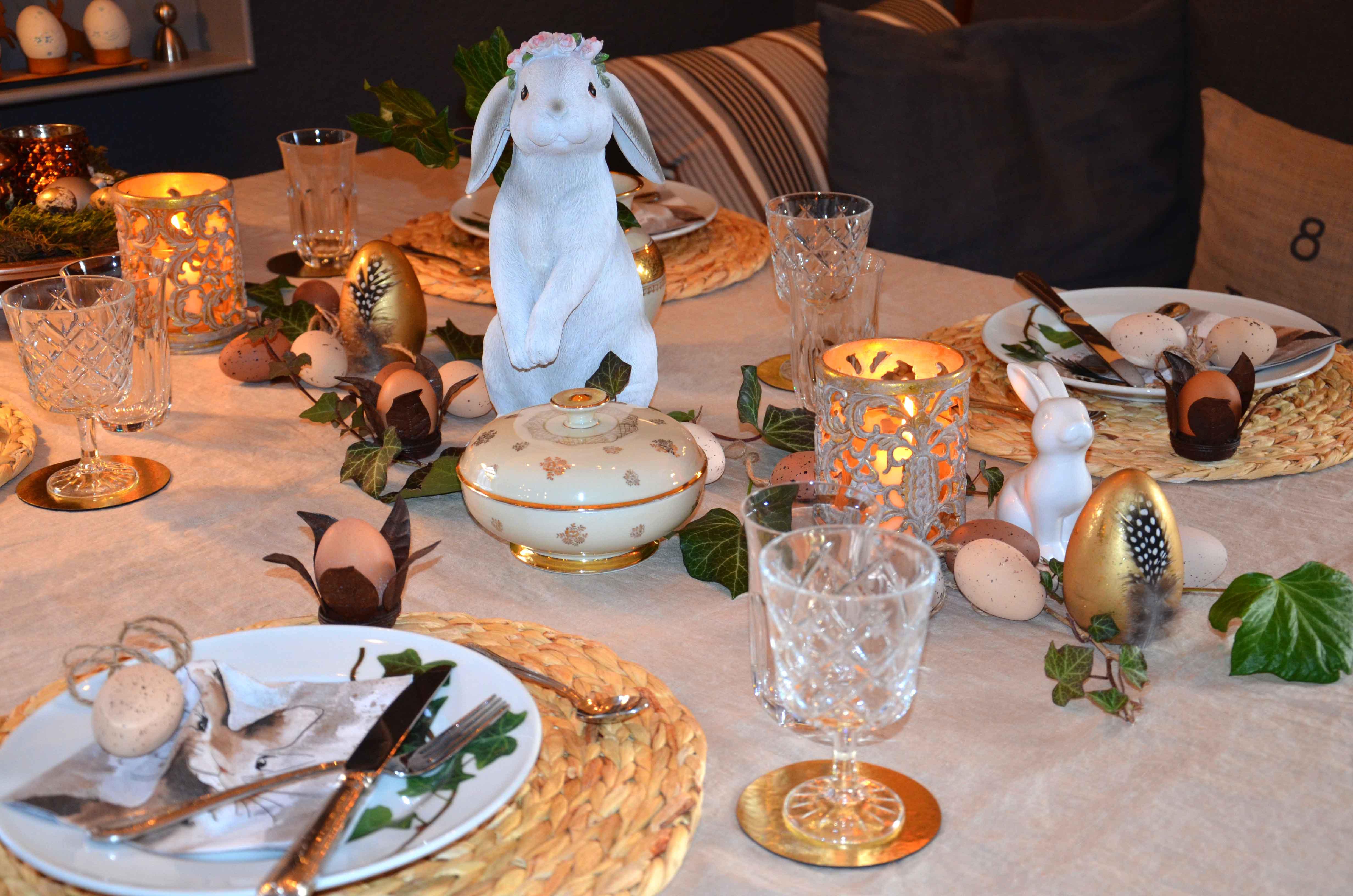 Tischdeko Ostern Hase gold